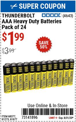AAA Heavy Duty Batteries, 24 Pk.