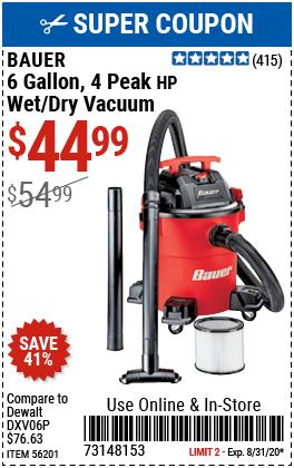 6 gallon 4 Peak Horsepower Wet/Dry Vacuum