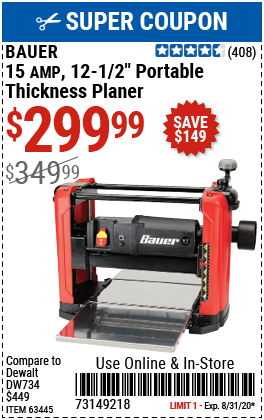 15 Amp 12-1/2 in. Portable Thickness Planer