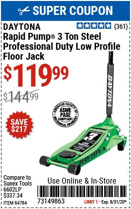 3 Ton Low Profile Professional Rapid Pump® Floor Jack - Green