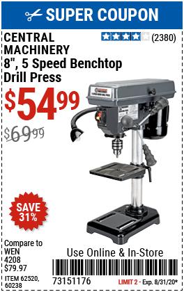 8 in. 5 Speed Bench Drill Press