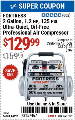 2 Gallon 135 PSI Ultra Quiet Hand Carry Jobsite Air Compressor