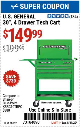 30 in. 4 Drawer Green Tech Cart