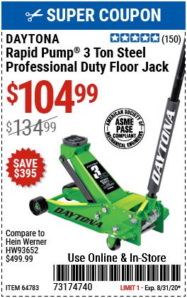 3 Ton Professional Rapid Pump® Floor Jack - Green