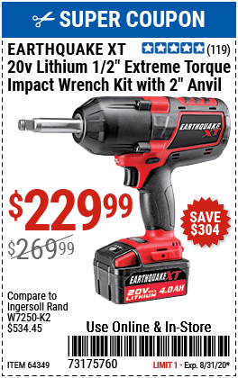 20V Max Lithium 1/2 in. Cordless Xtreme Torque Impact Wrench with 2 in. Anvil Kit