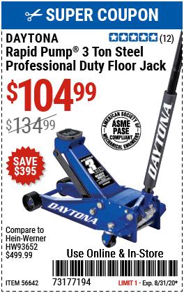 3 Ton Professional Rapid Pump® Floor Jack - Blue