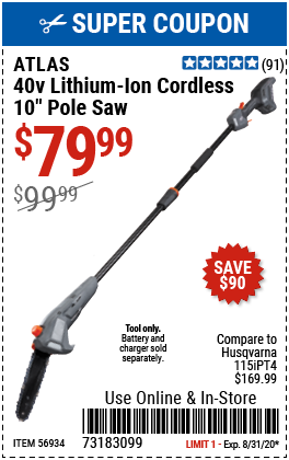 40V Lithium-Ion Cordless 10 in.  Pole Saw - Tool Only