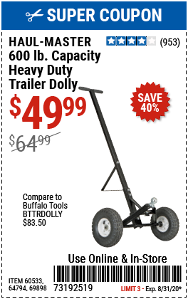 600 lb. Heavy Duty Trailer Dolly