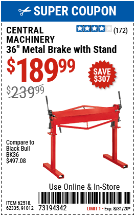 36 in. Metal Brake with Stand