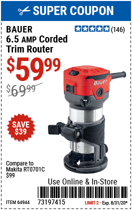 1/4 in.  6.5  Amp Variable Speed Compact Router