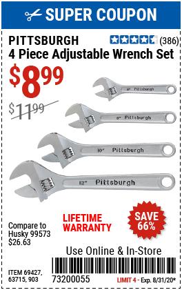4 Pc Adjustable Wrench Set