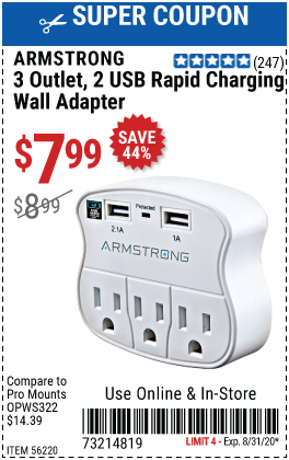 3 Outlet 2 USB Rapid Charging Wall Adapter