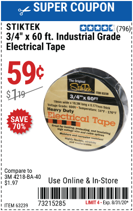 3/4 In x 60 Ft Industrial Grade Electrical Tape