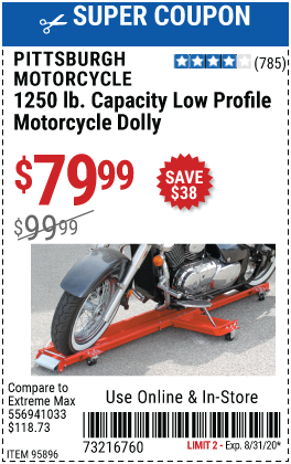 1250 lb. Capacity Low Profile Motorcycle Dolly