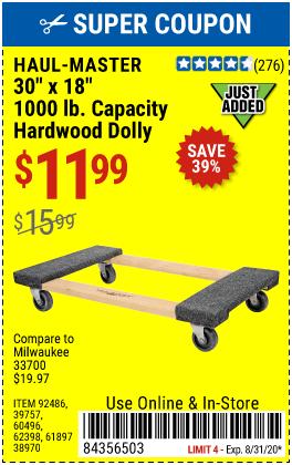 30 In x 18 In 1000 lb. Capacity Hardwood Dolly