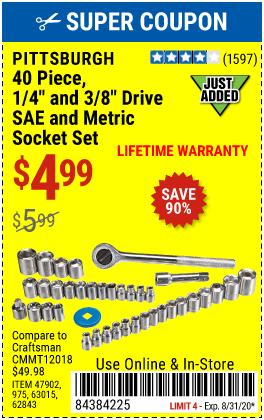 3/8 in., 1/4 in. Drive SAE & Metric Socket Set, 40 Pc.