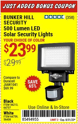 500 Lumen LED Solar Security Light - Black