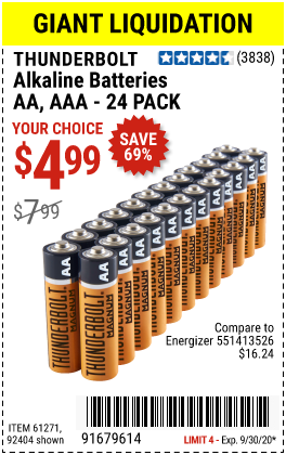 AAA Alkaline Batteries, 24 Pk.