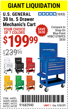 30 in. 5 Drawer White Mechanic's Cart