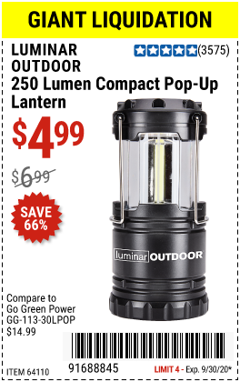 250 Lumen Compact Pop-Up Lantern