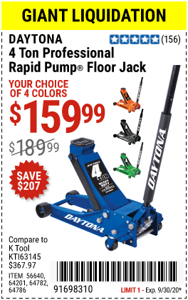 4 ton Professional Rapid Pump® Floor Jack - Blue