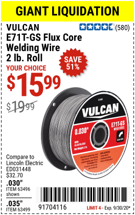0.030 in. E71T-GS Flux Core Welding Wire, 2.00 lb. Roll