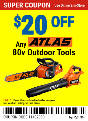 $20 off Any Atlas 80V Tool only