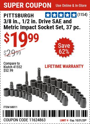 3/8 in., 1/2 in. Drive SAE & Metric Impact Socket Set, 37 Pc.