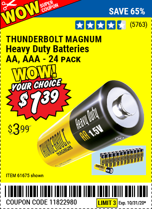AA Heavy Duty Batteries, 24 Pk.
