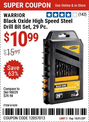 Black Oxide High Speed Steel Drill Bit Set, 29 Pc.