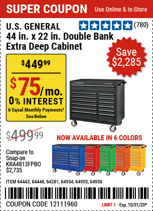 44 in. x 22 In. Double Bank Yellow Roller Cabinet