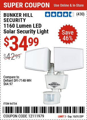 1160 Lumen LED Solar Security Light
