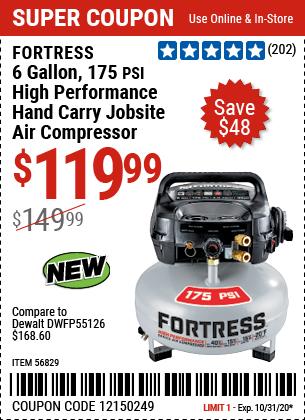 6 gallon 175 PSI   High Performance Hand Carry Jobsite Air Compressor
