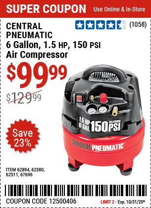 6 gallon 1.5 HP 150 PSI Air Compressor