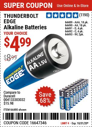 Thunderbolt Edge Alkaline Batteries For 4 99 Harbor Freight Coupons