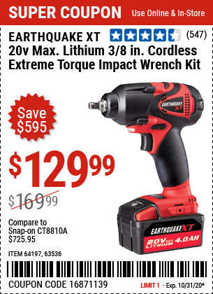 20V Max Lithium 3/8 In. Cordless Xtreme Torque Impact Wrench Kit