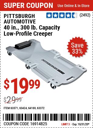 40 in. 300 lb. Capacity Low-Profile Creeper- Gray