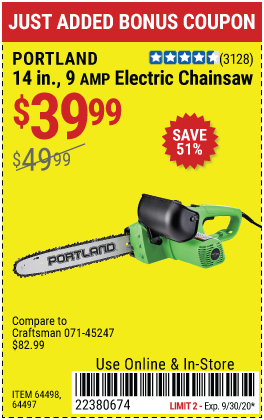 9 Amp 14 in. Corded Electric Chainsaw