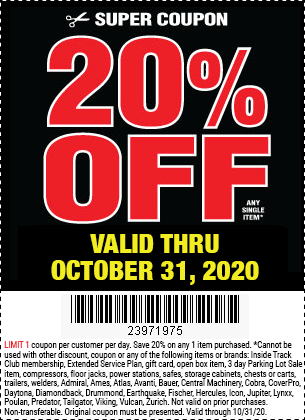 20% Off Any Single Item at Harbor Freight through October 31, 2020