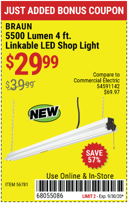 5500 Lumen 4 Ft. Linkable LED Shop Light
