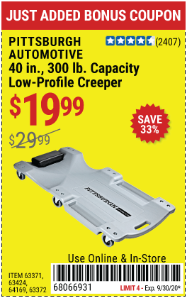 40 in. 300 lb. Capacity Low-Profile Creeper- Gray