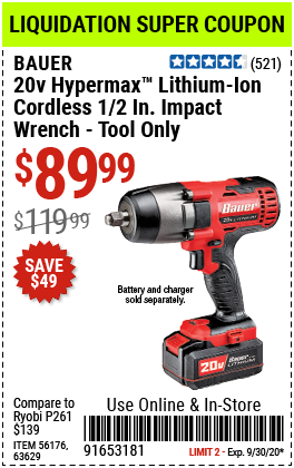 """20V Hypermaxâ""""¢ Lithium-Ion Cordless 1/2 in. Impact Wrench - Tool Only"""