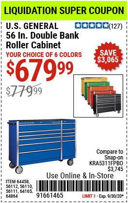 56 in. Double Bank Green Roller Cabinet