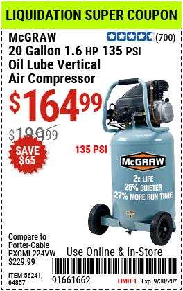 20 gallon 1.6 HP 135 PSI Oil Lube Vertical Air Compressor