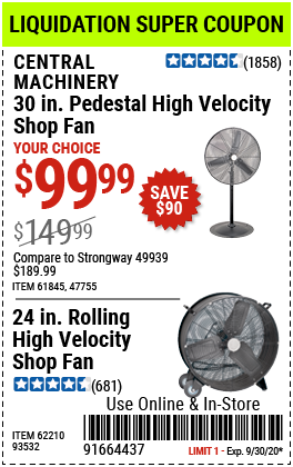 30 in. Pedestal High Velocity Shop Fan