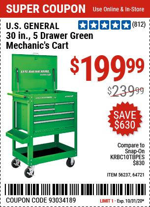 30 in. 5 Drawer Green Mechanic's Cart