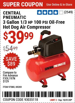 3 gallon 1/3 HP 100 PSI Oil-Free Hotdog Air Compressor