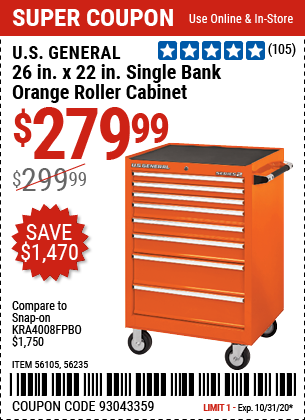 26 in. x 22 In. Single Bank Orange Roller Cabinet