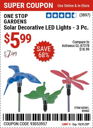 Solar Decorative LED Lights - 3 Pc