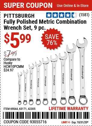 Fully Polished Metric Combination Wrench Set, 9 Pc.